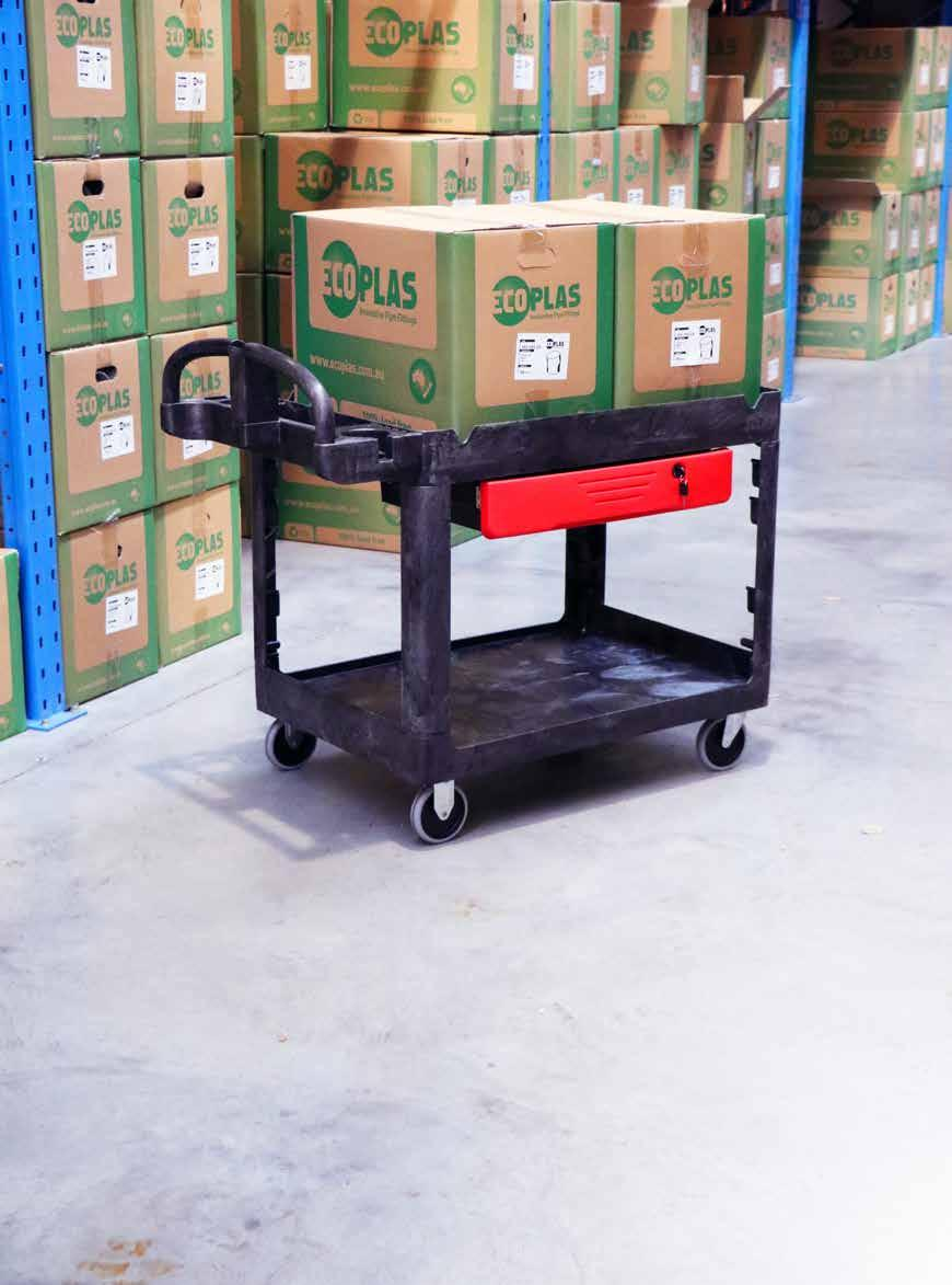 UTILITY CART RECESSED SHELF Versatile recessed shelves designed for transport of small, lightweight items Sturdy structural foam construction won t rust, dent or chip like metal carts Ergonomic
