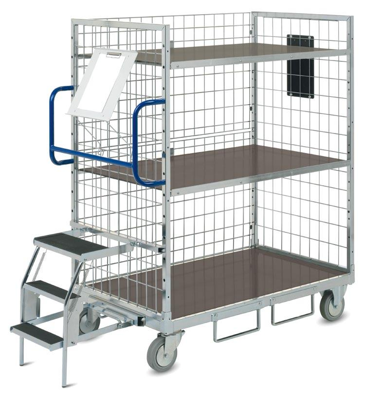 01.04 KT4 order picking trolley Robust and extremely durable > Load capacity up to 600 kg > Matched to Euro standard box > System design with individual structure KT4 basic model with accessories