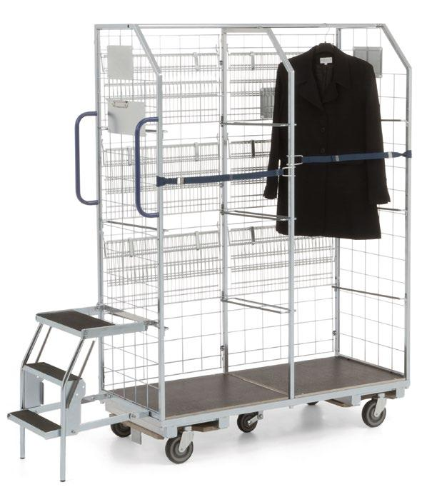 01.06 KT3-Kombi order picking trolley For the transport of clothing > Hinged shelves for the transport of accessories
