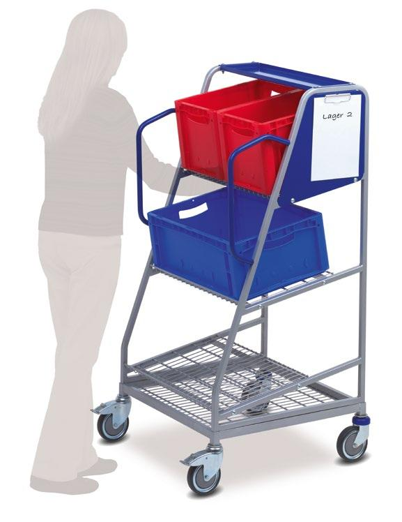 01.09 KT-B order picking trolley Perfectly adapted for European standard boxes > Low net weight at 30 kg > Load capacity up to 150 kg KT-B Supplied without standard boxes KT-B Standard equipment: 2