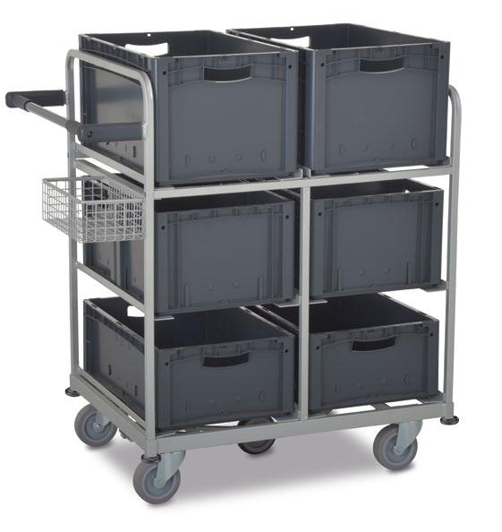01.10 MultiPick trolley For order picking with European standard boxes > Holds up to 6 boxes > With small item