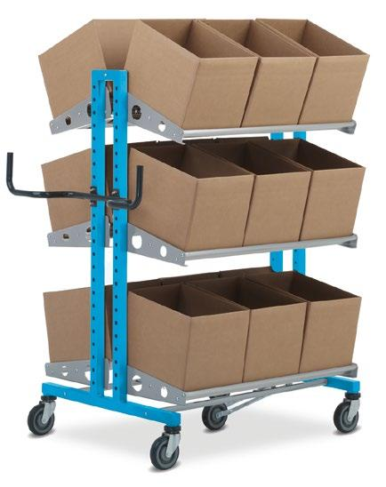 Ergonomically shaped handle, suitable for both pulling and pushing. Shelves can be screwed in at height increments of 50 mm. Note: with Pick & Pack 2000, steel tubes are used in the shelves.
