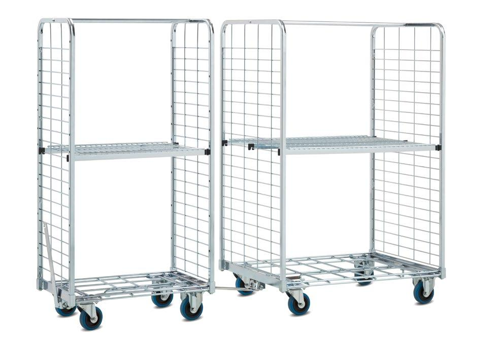 01.01 KT1 order picking trolley An order picking trolley and transporter in one > Hitch enables interconnection > Plug-in side panels > Modular structure KT1-600 KT1-400 Standard equipment: Metal
