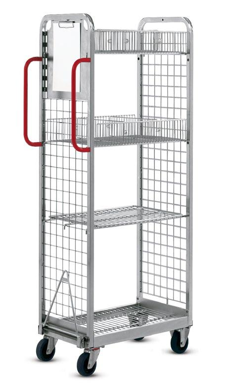 01.02 KT2 order picking trolley Light and compact > Only 40 cm wide perfect for narrow aisles > Load capacity up to 150 kg KT2 basic model with accessories Standard equipment: Chassis made of square