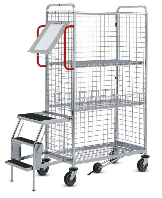 01.03 KT3 order picking trolley The all-round talent > System design with individual structure > Versatile equipment > Load capacity up to 300 kg KT3 Basic model with accessories Dimensions (mm): L