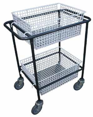 Dimensions Trays TROLLEY 41691001 460mm W x 840mm H x 740mm L 2 x removable baskets Stainless steel construction Ideal for food and wet areas Corner bumpers on