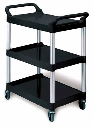 SERVICE CART 3 TIER RUBBERMAID X-TRA UTILITY CART Plastic shelves Aluminium uprights Rubber swivel castors, 2 lockable Supplied kitset Dimensions Shelf Size SMALL TROLLEY LARGE
