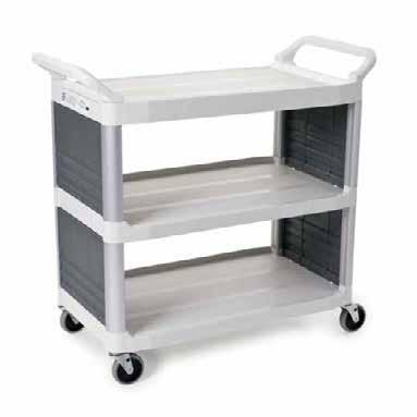 durability, resists chips, dents and will not rust and corrode like metal Large shelves hold a variety of equipment and supplies Ergonomically designed handles for comfort Quiet