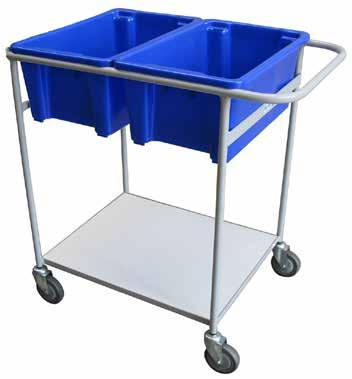 TOTE BIN TROLLEY WITH PLATFORM 3 TIER TOTE BIN TROLLEY Powder coated steel construction Rubber swivel castors Holds standard