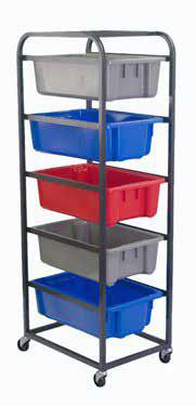 5 TIER TOTE BIN TROLLEY 6 TIER TOTE BIN TROLLEY Powder coated steel construction 5 TIER TOTE BIN TROLLEY Great for keeping orders
