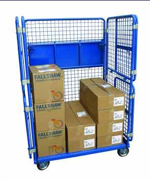 not in use, offering space GOODS TROLLEY 41091041 792mm W x 1700mm H x 1100mm L 500kg Mesh shelves and sides, with one