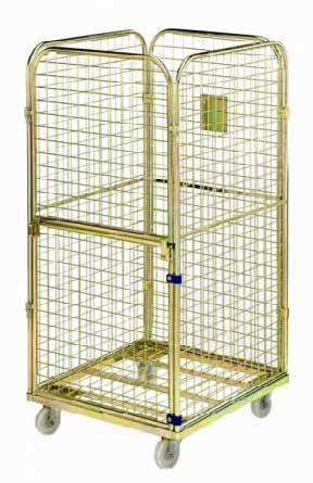 PREMIUM CAGE TROLLEY SAFE CAGE TROLLEY Information plate on back wall Shelf for separate compartments (optional) Additional locking option 2 swivel & 2 fixed castors 108mm diameter, PP plastic of