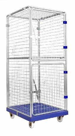 panel on the back wall Optional middle shelf available CAGE TROLLEY 40891054 720mm W x 1820mm H x 810mm L 270kg Solid, construction made of steel rods with 50 x high-impact proof PE Centrally