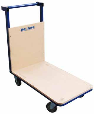DEXTERS PLATFORM TROLLEY PLATFORM TRUCK Heavy duty single platform trolley Powder coated steel framework MDF wooden deck and back 5 precision bearing rubber castors