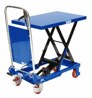 MOBILE SCISSOR TABLE - 150KG MOBILE SCISSOR TABLE - 300KG The table is elevated by a pump action foot pedal and smoothly lowered by a hand operated release trigger.