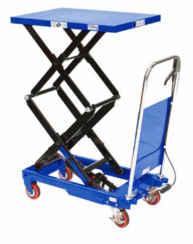 MOBILE SCISSOR TABLE - 500KG MOBILE HIGH-LIFT SCISSOR TABLE - 150KG The table is elevated by a pump action foot pedal and smoothly lowered by a hand operated release trigger.