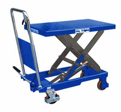 TROLLEY 53441003 855mm L x 500mm W 900mm 340mm The table is elevated by a pump action foot pedal and smoothly lowered by a hand operated release trigger.