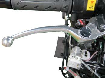 2. Periodic Maintenance > Brake Fluid XCITING 400i Pump the brake lever several times and hold the lever in. While holding the lever in, crack open the bleeder valve.