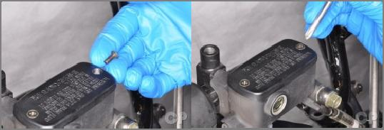 2. Periodic Maintenance > Brake Fluid XCITING 400i Place the rubber diaphragm, plastic piece and cover over