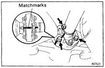 PR8 (e) Place matchmarks on the transmission companion flange and propeller shaft flanges. (f) Remove the 4 washers and nuts.