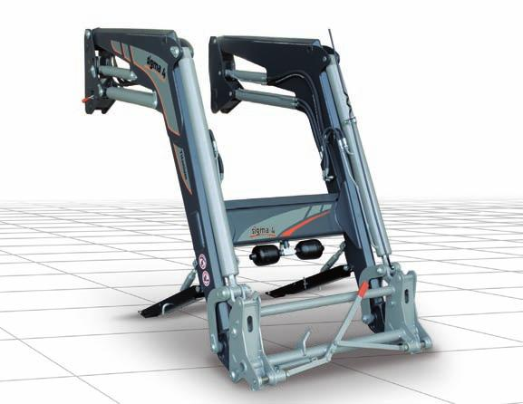 > Adjustable support legs > GENIUS anti-bounce system TITANIUM Front loader with HYDRAULIC self-levelling system > Fitting brackets supporting loader from tractor front end to rear axle shafts >