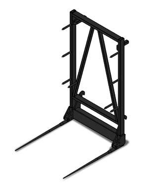 IMPLEMENTS Pallet fork with side shift and grab Round bale fork Rear mounted round bale fork Large