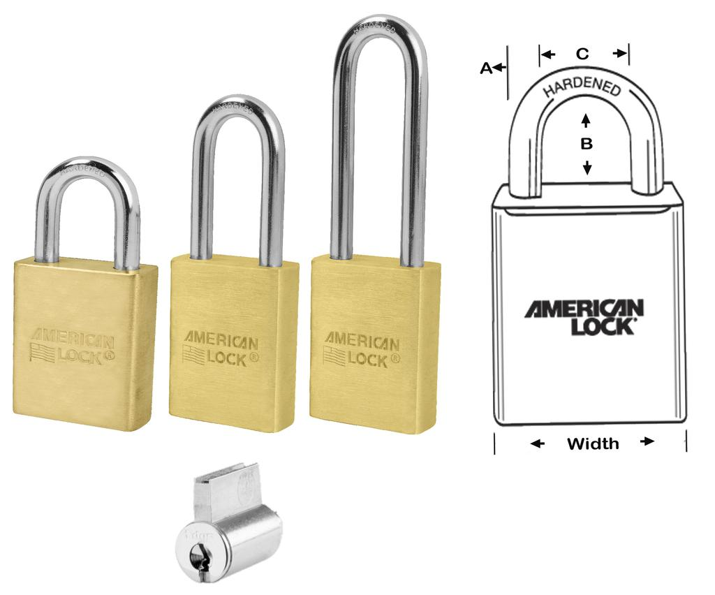 for harsh environments 3560 Series 1-3/4 Wide x 3/4 Thick, Solid Brass Padlock with Boron Shackle, A = 5/16, C = 3/4 A3560 Boron, B = 1-1/8 A3561 Boron, B = 2 A3562 Boron, B = 3 A3560WO A3561WO