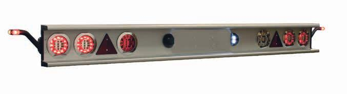 REAR BUMPER Rear bumper E Rear bumper complete with lights 1/4V - for trailers < 6000 mm. Anodized aluminum profile with E-approved lights Dimension (WxDxH): 400 x 10 x 50 mm / Length incl.
