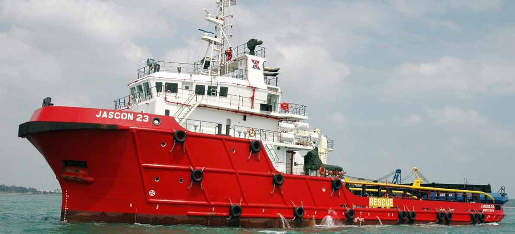 JASCON 23 5150 HP AHTS VESSEL, DPS-1 macchinery Propulsion engines Generator sets Emergency gen set Bow thrusters performance Speed Bollard pull dynamic positioning 59.25 m 14.95 m 6.10 m 4.
