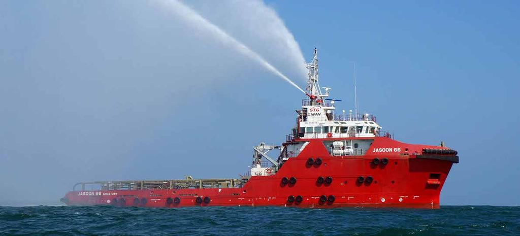 JASCON 66 / 67 5150 HP AHTS vessel, DPS-2 Breadth (moulded) (moulded) Propulsion engines Generator sets Bow thrusters Stern thruster performance Speed Bollard pull 60.50 m 15.80 m 6.50 m 5.