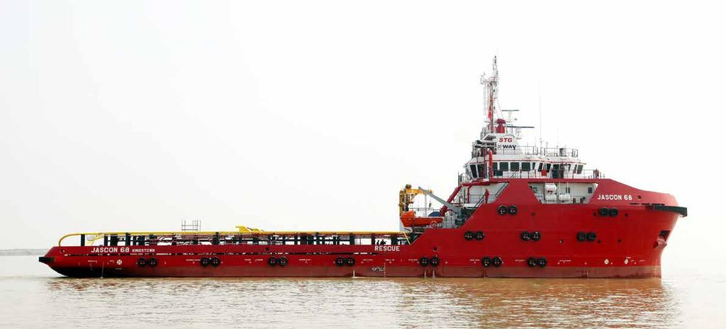 JASCON 68 / 69 5150 HP AH Platform Supply Vessel, DPs-2 Breadth (moulded) (moulded) Draft (moulded) Main engines Generator sets Bow thrusters Stern thruster 70.10 m 15.80 m 6.50 m 5.