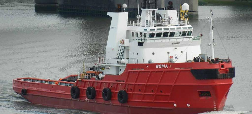 roma 12000 HP AHTS VESSEL Length o.a Breadth Main engines Aux engines Bow thruster Shaft generator performance Speed (max.) Bollard pull 60.46 m 15.32 m 6.