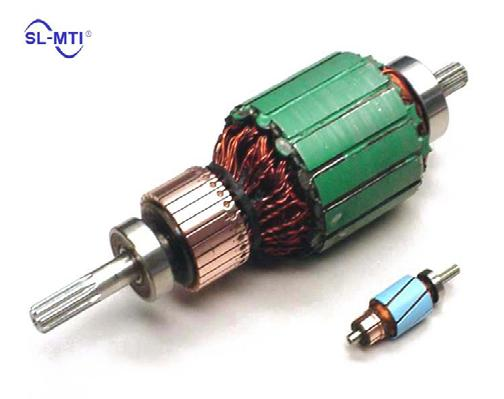 The brushes are metal strips or blocks which run along the outside surface of the commutator. The commutator rotates with the armature, and the brushes remain fixed to the stator.