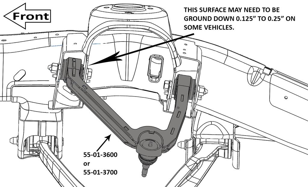 FORM#3600.01-060515 PRINTED IN U.S.A. PAGE 4 OF 10 FRONT ASSEMBLY 7) CONTROL ARM... [Illustration 1] Install the new upper control arm in the frame using the factory hardware.