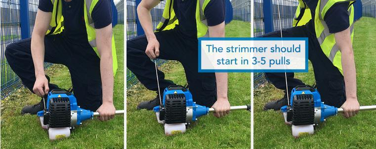 START THE STRIMMER Place the strimmer on the ground so the pull start is facing up towards you. Make sure the cutting attachment is not touching the ground or might catch on any other object.
