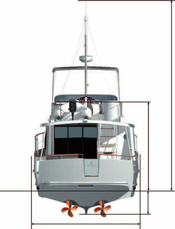 Owner cabin: 7,30 m² / 78,5 sq ft Air draft - max 7,76 m / 25 6 Water line