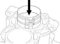 "Install the piston/ connecting rod assembly with the piston ""IN"" mark facing the intake side. Coat the cylinder walls, piston outer surfaces and piston rings with engine oil."