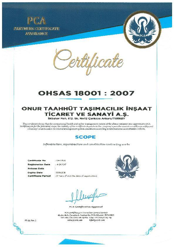 CERTIFICATES OHSAS - 18001 ISO