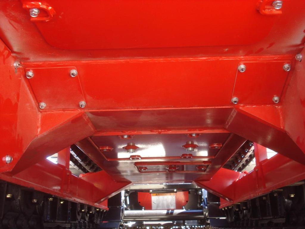1. Removable access panels for servicing and cleaning. 2. Panel bolts have protection from debris welded around bolt 3. 16 ground clearance 4.