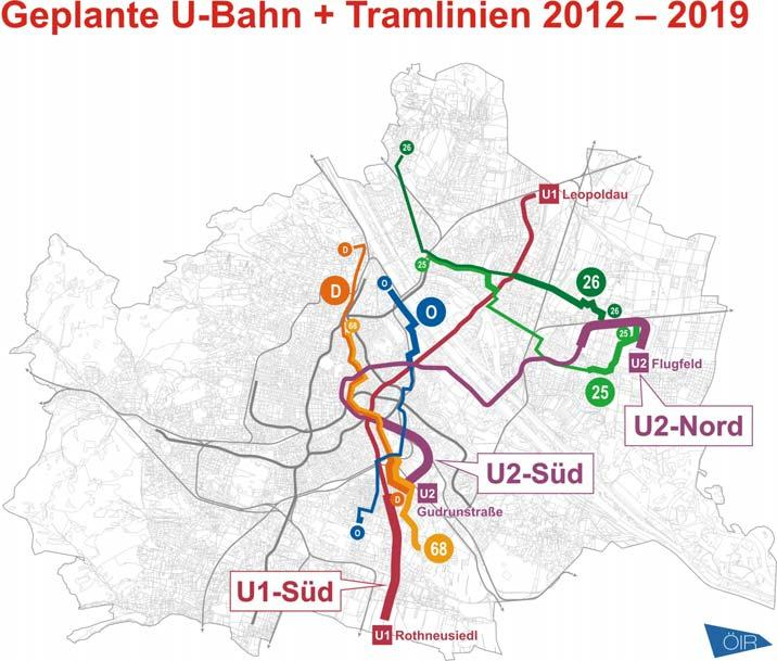 Planned extension of the public transportation grid Next