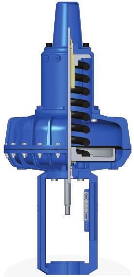 The compressed spring ensures that the pneumatic actuator always achieves fail safe condition on air failure without any additional intervention.