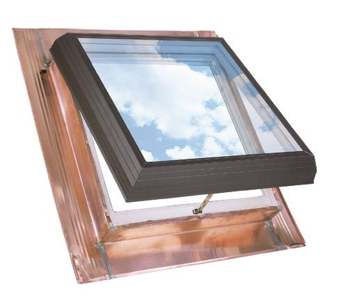 Thermo-lite: Copper pan-flashed skylight models Electric venting skylight model QET Brings in abundant natural light and opens to let in fresh air with the touch of a button.