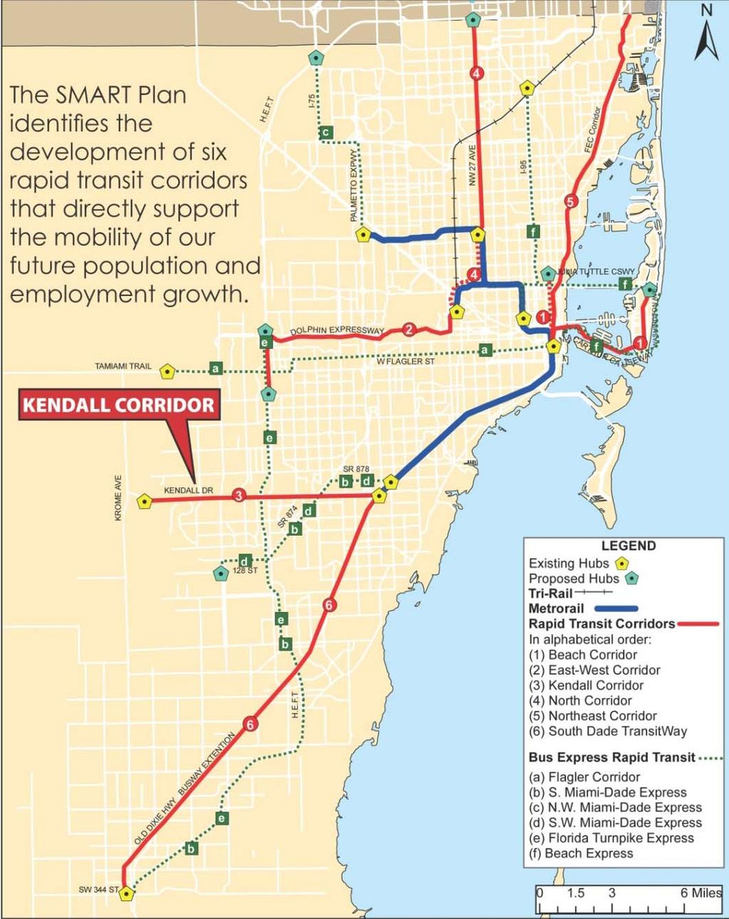Miami-Dade MPO SMART Plan Six identified Rapid Transit Corridors: Beach Corridor