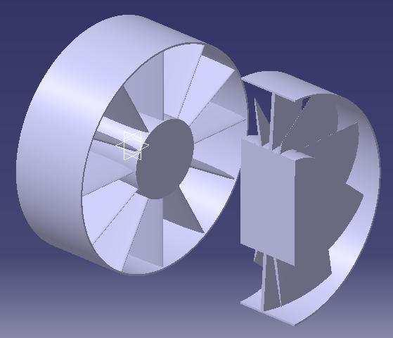 EXPERIMENTAL WORK Three-dimensional air flow through an axial, multistage fan will be solved in this analysis.