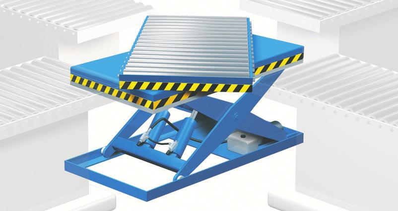 Lift tables ELS, ELD, ELT as system table System lifting tables for assembly lines are designed and constructed according to the specific work task and feature extra high quality.