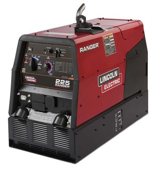 ENGINE DRIVEN WELDERS Ranger 225 Processes Stick, TIG, MIG, Flux-Cored, Gouging Product Number K2857-1 See inside for complete specs Output Range 50-225A DC 15-25V CV Welding 10,500 Watts Peak AC