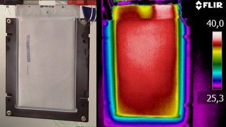Electro-thermal Coupling: Simulation versus Experiment Experiment: Real Cell Heated by Discharge Cycle Thermographic imaging Electro-thermal coupled simulation with MOR Comparison shows good accuracy