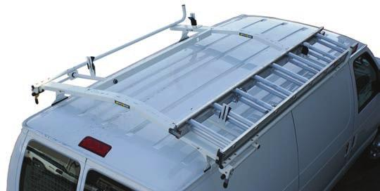 CLAMP & LOCK LADDER RACK FEATURES AND BENEFITS Rugged crossbows are low over van roof to reduce overall vehicle height and to facilitate loading and unloading.