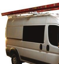 RAM PROMASTER EQUIPMENT LADDER RACK SYSTEMS EZ Lo-Down Ladder Rack Heavy-Duty mechanism gently lowers and raises ladder into position.