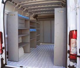 Contoured end panels provide flush fit to van side, widest possible van aisle.